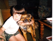 Me with my childhood dog, Bear.